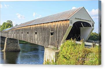 Covered Bridges Canvas Print - Cornish-windsor Covered Bridge  by Edward Fielding