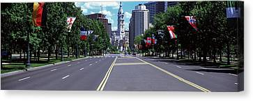 Country Flags On Trees Along Martin Canvas Print