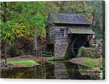 Country Mill And Pond Canvas Print by Paul Ward