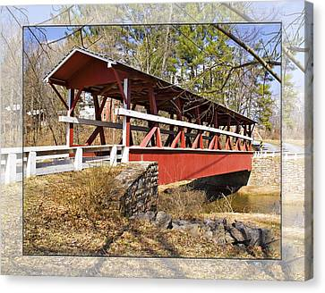 Covered Bridge In Pa. Canvas Print by Walter Herrit
