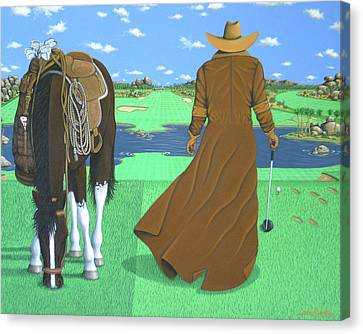 Contemporary Cowgirl Canvas Print - Cowboy Caddy by Lance Headlee