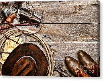 Cowboy Gear Canvas Print by Olivier Le Queinec