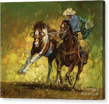 Rodeo Canvas Print - Rodeo Pickup by Don  Langeneckert