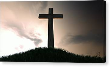 Crucifix On A Hill At Dawn Canvas Print by Allan Swart