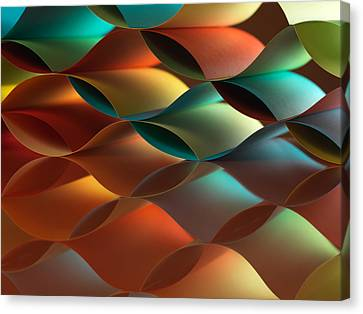Curved Colorful Sheets Paper With Mirror Reflexions Canvas Print by Dan Comaniciu