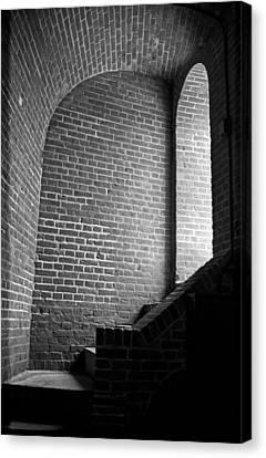 Dark Brick Passageway Canvas Print by Frank Romeo