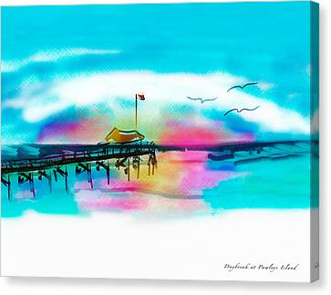 Canvas Print featuring the digital art Daybreak At Pawleys Island by Frank Bright
