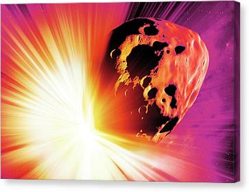 Planetoid Canvas Print - Deflecting A Near-earth Asteroid by Detlev Van Ravenswaay