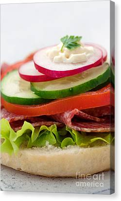 Delicious Ham Cheese And Salami Sandwich Canvas Print by Mythja  Photography