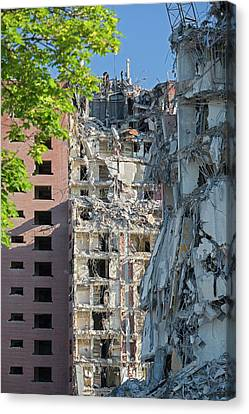 Demolition Of Detroit Housing Towers Canvas Print by Jim West