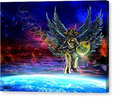 Descending Seraphim Canvas Print by Michael Schneider