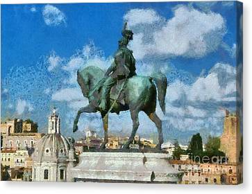 Roma Canvas Print - Details From Vittorio Emanuele Monument In Rome by George Atsametakis