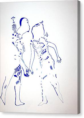 Dinka Courtship - South Sudan Canvas Print by Gloria Ssali