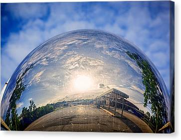 Wide Angled Glass Mirror Canvas Print - Distorted Reflection by Sennie Pierson