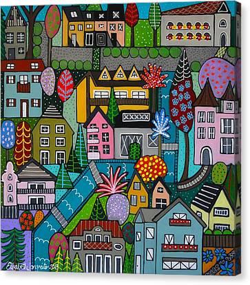 Dorf Im Fruhjahr Square Canvas Print