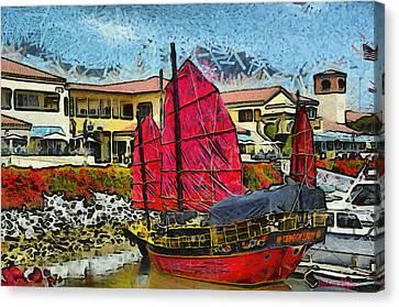 Dragon Lady At Venture Harbor Canvas Print by Barbara Snyder