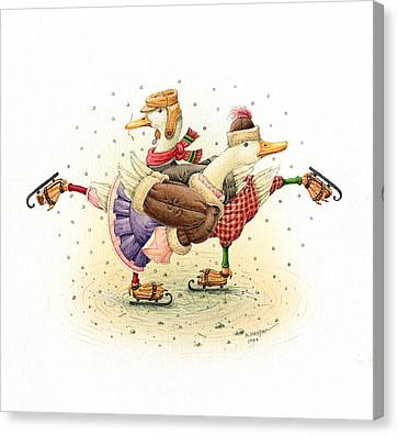 Ducks Christmas Canvas Print by Kestutis Kasparavicius