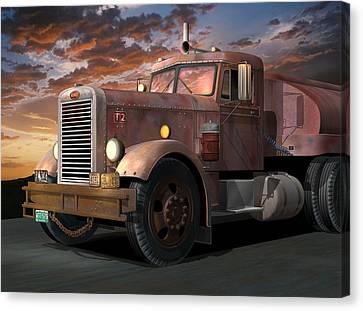 1955 Movies Canvas Print - Duel Truck by Stuart Swartz