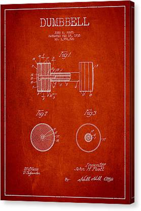 Dumbbell Patent Drawing From 1935 Canvas Print by Aged Pixel