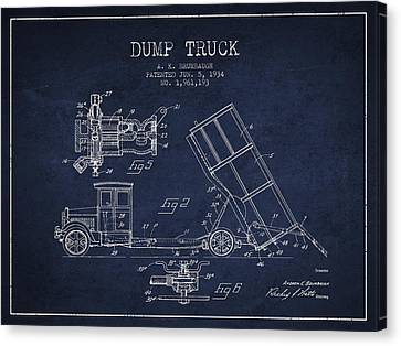 Truck Canvas Print - Dump Truck Patent Drawing From 1934 by Aged Pixel