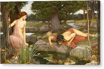 Echo And Narcissus Canvas Print by John William Waterhouse