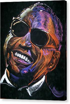 Canvas Print featuring the mixed media electric Ray Charles by Peter Suhocke