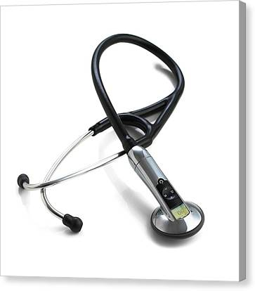 Heartbeat Canvas Print - Electronic Stethoscope by Science Photo Library