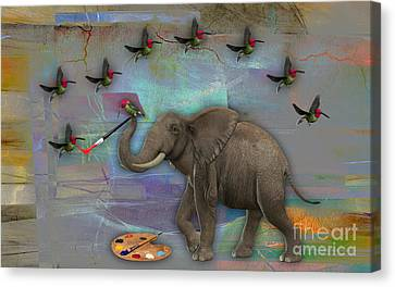 Birds Canvas Print - Elephant Painting by Marvin Blaine