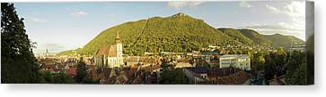 Elevated View Of A Town, Brasov, Brasov Canvas Print by Panoramic Images