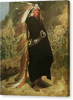 Portrait Of An Indian Chief Canvas Print by Valentine Bromley