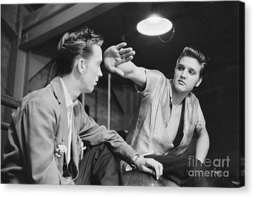 Elvis Presley And His Cousin Gene Smith 1956 Canvas Print by The Harrington Collection