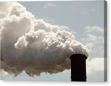 Emissions From The Bluescope Steel Works Canvas Print by Ashley Cooper