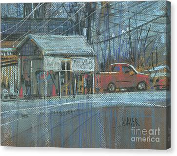 Canvas Print featuring the painting Emissions Testing by Donald Maier