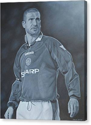 Canvas Print featuring the painting Eric Cantona I by David Dunne