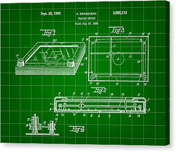 Etch A Sketch Canvas Print - Etch A Sketch Patent 1959 - Green by Stephen Younts