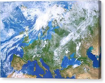 Europe From Space Canvas Print by Detlev Van Ravenswaay