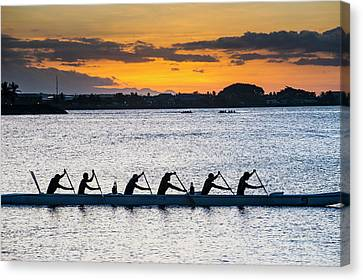 Evening Rowing In The Bay Of Apia Canvas Print by Michael Runkel