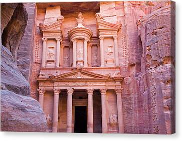 Facade Of Treasury (al Khazneh Canvas Print by Keren Su