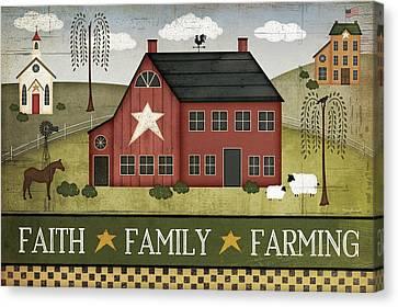 Faith, Family, Farming Canvas Print by Jennifer Pugh