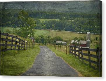 Farm In The Valley Canvas Print by Kathy Jennings