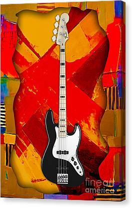 Fender Bass Guitar Collection Canvas Print by Marvin Blaine