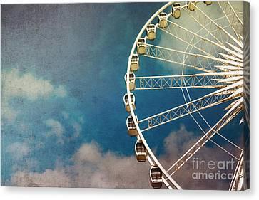 Ferris Wheel Retro Canvas Print by Jane Rix