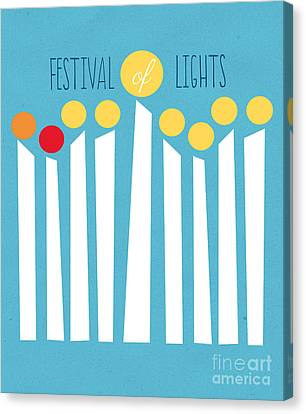 Jewish Canvas Print - Festival Of Lights by Linda Woods
