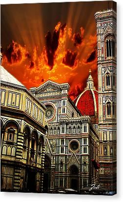 Firenze La Cattedrale Di Santa Maria Del Fiore - Florence The Cathedral Of Santa Maria Del Fiore Canvas Print
