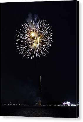 Fireworks Shell Burst Over The St Petersburg Pier Canvas Print by Jay Droggitis