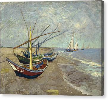 Fishing Boats On The Beach At Les Saintes-maries-de-la-mer Canvas Print by Vincent van Gogh