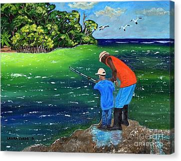 Fishing Buddies Canvas Print by Laura Forde