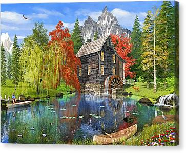 Fishing By The Mill Canvas Print by 2015, Dominic Davison, Licensed by MGL, www.mgllicensing.com