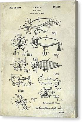 1961 Fishing Lures Patent Drawing  Canvas Print