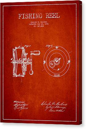 Fishing Reel Patent From 1874 Canvas Print by Aged Pixel